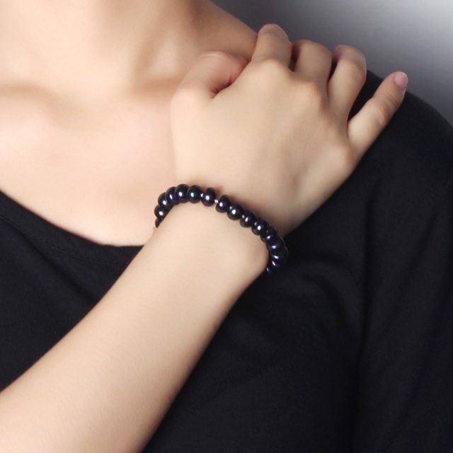 Natural Black Pearl Heart Clasp Bracelet