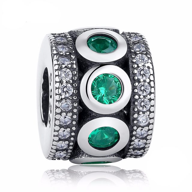 Women's Green Crystal Spacer Charm