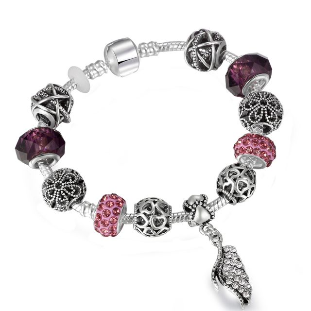 Vintage Silver Charm Bracelet with Tree of Life Pendant