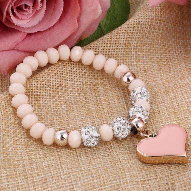 Women's Elastic Charm Bracelet with Heart