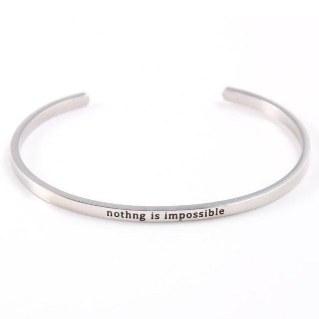 Silver Custom Stainless Steel Engraved Message Bracelet Personalized Positive Inspirational Letter Bracelet & Bangle For Women