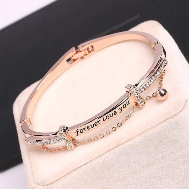 CHENFAN bangles stainless steel bracelets woman jewelery forever love you bracelets bangle fashion bracelets for woman 2019