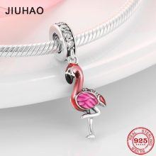 Hot Sale 100% 925 Sterling Silver Enamel Flamingo Fashion Charm Fits Original Pandora Charms Bracelets