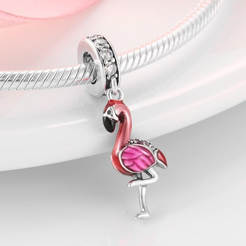 Hot Sale 100% 925 Sterling Silver Enamel Flamingo Fashion Charm Fits Original Pandora Charms Bracelets