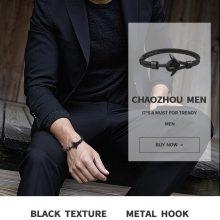 HOMOD 2019 New Fashion Black Color Anchor Bracelets Men Charm Survival Rope Chain Paracord Bracelet Male Wrap Metal Sport Hooks CB