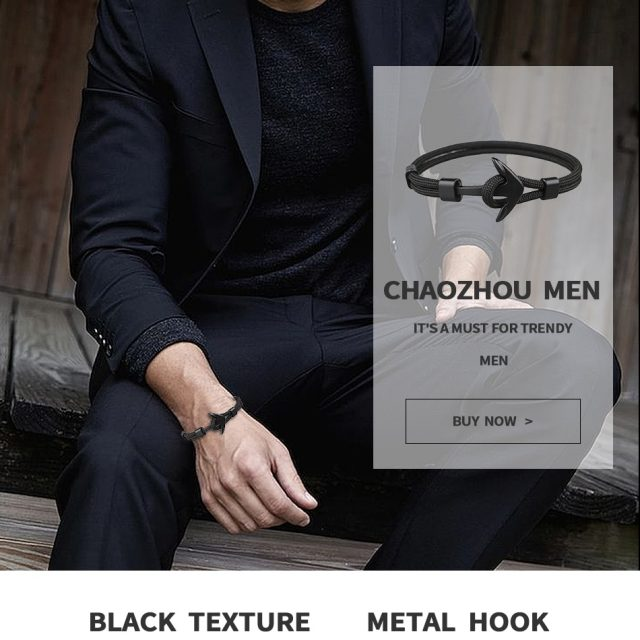 HOMOD 2019 New Fashion Black Color Anchor Bracelets Men Charm Survival Rope Chain Paracord Bracelet Male Wrap Metal Sport Hooks CB