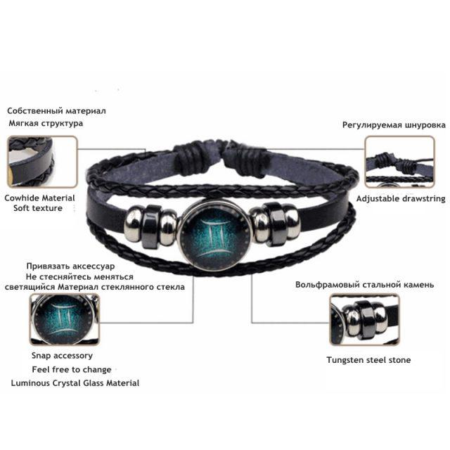 New 12 Constellation Luminous Bracelet Men Leather Bracelet Charm Bracelets for Men Boys Women Girl Jewelry Accessories Gifts