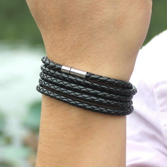 New Style! 2018 Latest Popular 5 Laps Leather Bracelet For Men Charm Vintage Black Bracelet from Charms and Bracelets 10 Color Choose