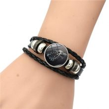Game of Thrones House Stark Wolf Glass Cabochon Leather Bracelets Multi Layers Weave Handmade Punk Men from Charms and Bracelets