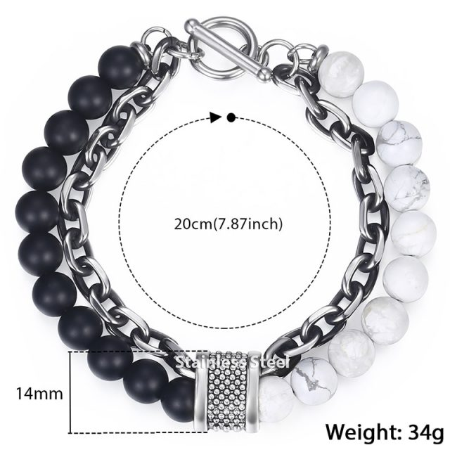 Trendsmax Natural Map Stone Men's Beaded Bracelet for women Stainless Steel Bracelets Male Jewelry Tiger eye 8 9 10 inch Charms and Bracelets