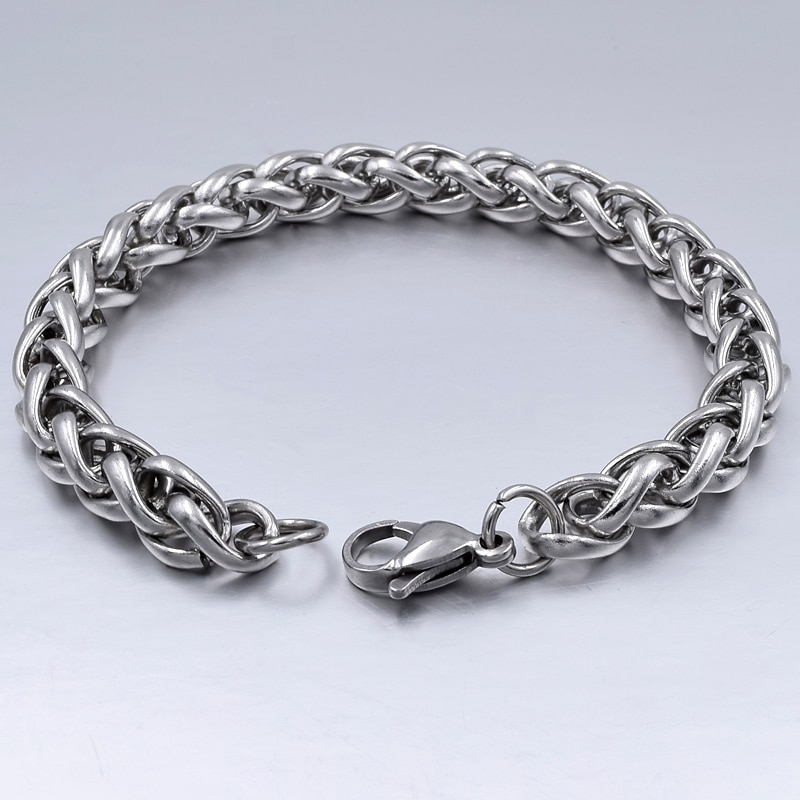 Men's Bracelet & Bangle 2019  Stainless Steel Bracelet Silver Color Link Wheat Double Chain Jewelry from Charms and Bracelets