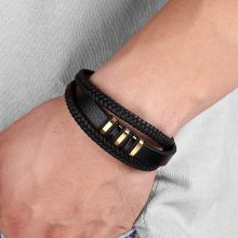 New 3 Layers Black Gold Punk Style Design Genuine Leather Bracelet for Men Steel Magnetic Button from Charms and Bracelets