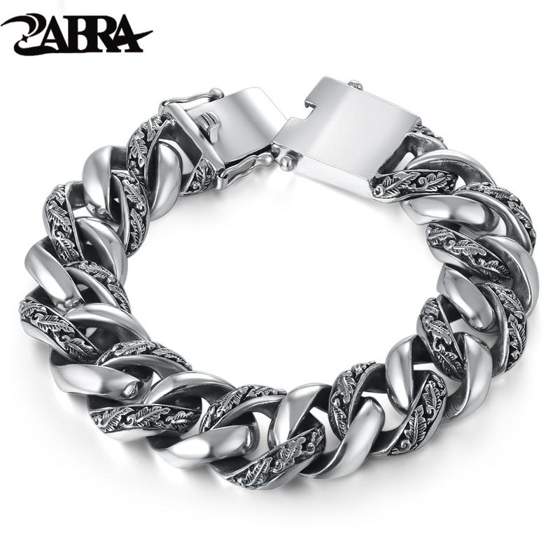 ZABRA Mens Plant Totem Genuine 925 Silver Bracelets Punk Rock Vintage Heavy Sterling Silver Bracelet from Charms and Bracelets