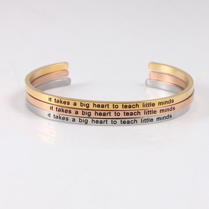 Rose Gold Stainless Steel Classic Bangle Positive Inspirational Bracelet Engraved Quote Mantra Bracelet from Charms and Bracelets