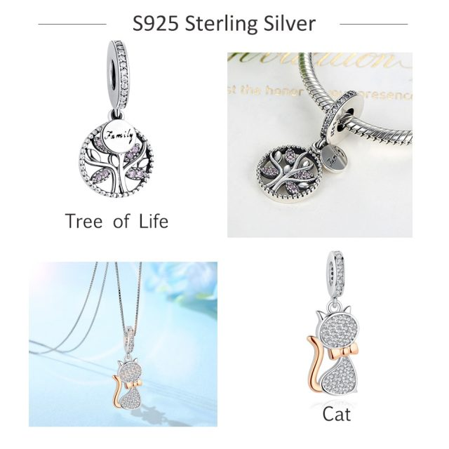 Silver Charm Fit Original Pandora Bracelet Beads 925 Sterling Silver Love Dangle Charm Crystal Heart ,Flower,Tower,Tree Bead from Charms and Bracelets