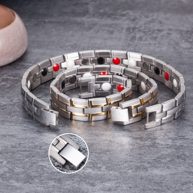 Health Magnetic Male Stainless Steel Wrist Band from CharmsandBracelets