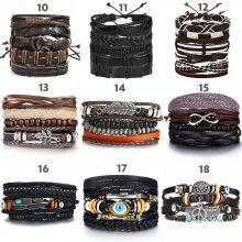 Various Vintage Leaf Feather Multilayer Leather Bracelets from CharmsandBracelets