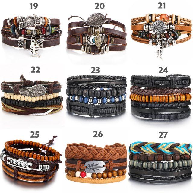 Various Vintage Leaf Feather Multilayer Leather Bracelets from CharmsandBracelets