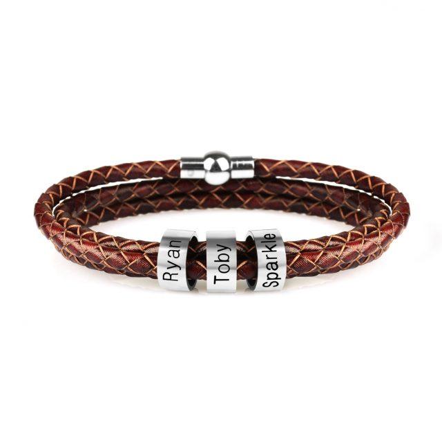 Custom Stainless Steel Bead Charm Bracelets Genuine Leather Braided Rope from CharmsandBracelets