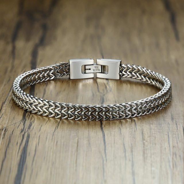 Stylish Stainless Steel Bali Foxtail Bracelet for Men from CharmsandBracelets