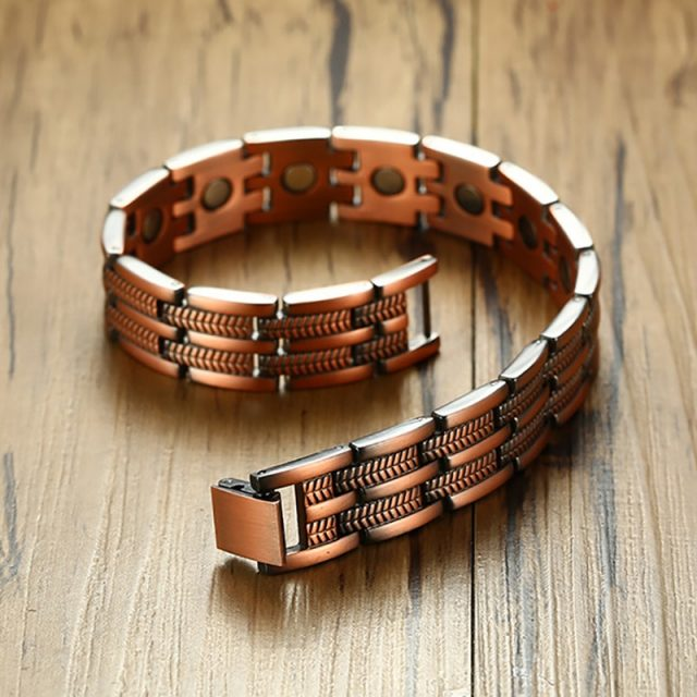 Mens Elegant Pure Copper Magnetic Therapy Link Bracelet Pain Relief For Arthritis And Carpal Tunnel Male Jewelry 8.46